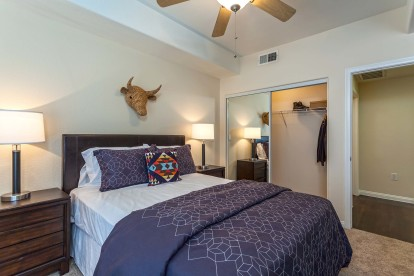 Traditional style one bedroom with ceiling fan and crown molding