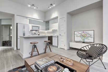 Ice white design scope open concept living dining