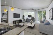 Expansive living room with home office space