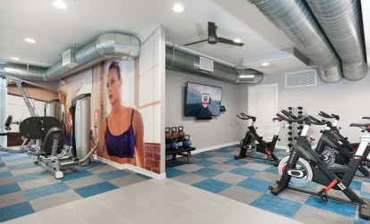 Fitness center with weight machine and spin bikes