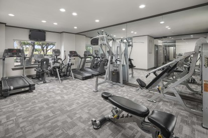 Fitness center cardio and strength machines