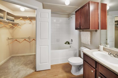Bathroom with walk in closet large bathtub with tile suuround and storage