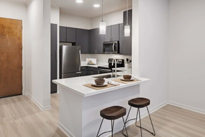Kitchen with gray modern cabinets and white quartz countertops