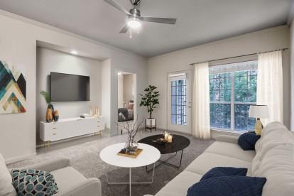 Modern style living room alongside balcony