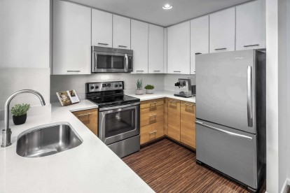 Kitchen with silestone countertops ceramic tile backsplash and extra wide sink with spray faucet extension
