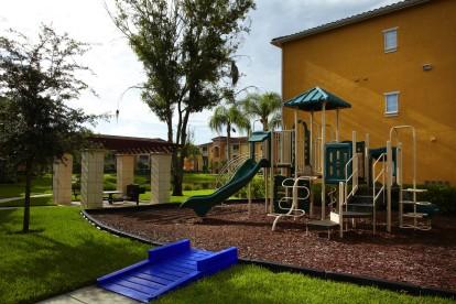 Playground with slide jungle gym