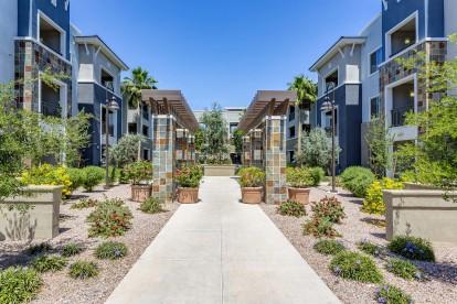 Landscaped walkway between buildings