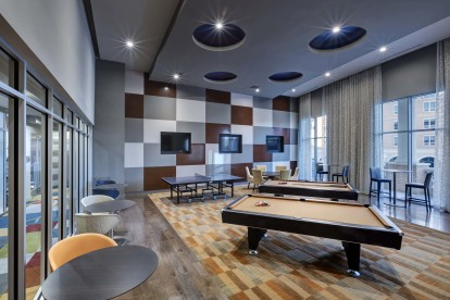 Resident lounge with billiards and ping pong table