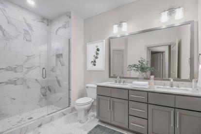 Bathroom dual vanity grey design scope