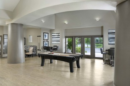 Resident lounge with billiards and seating