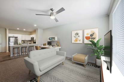 Living room with space to work from home
