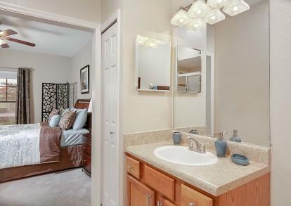 Bathroom with linen closet