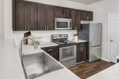Kichen with stainless steel appliances