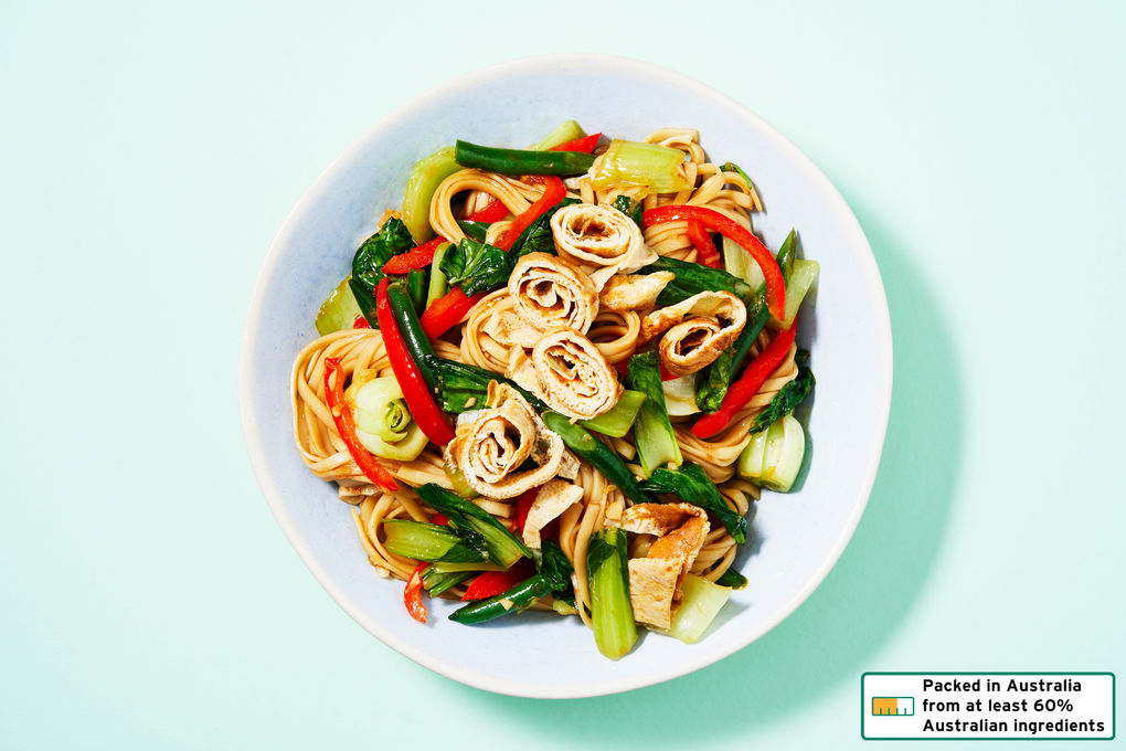 Vegetable Noodle Stir-Fry with Omelette Strips