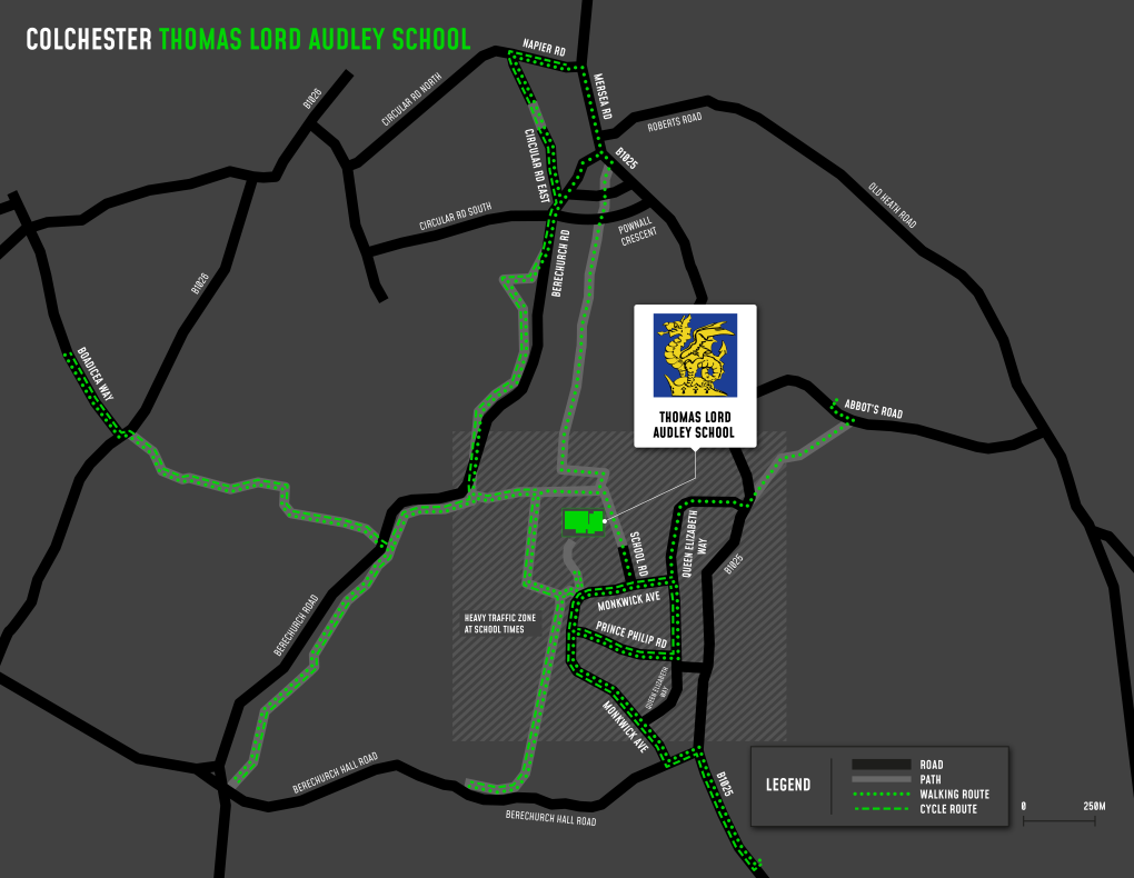A map showing cycle and walking routes to and from The Thomas Lord Audley School The Thomas Lord Audley School