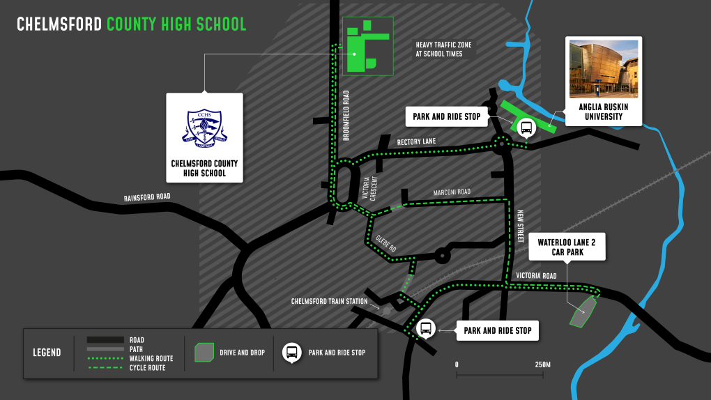 A map showing cycle and walking routes to and from Chelmsford County High School for Girls