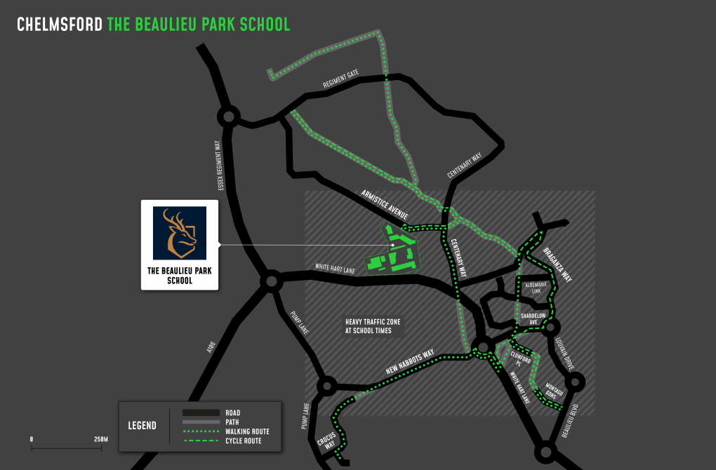 A map showing cycle and walking routes to and from The Beaulieu Park School