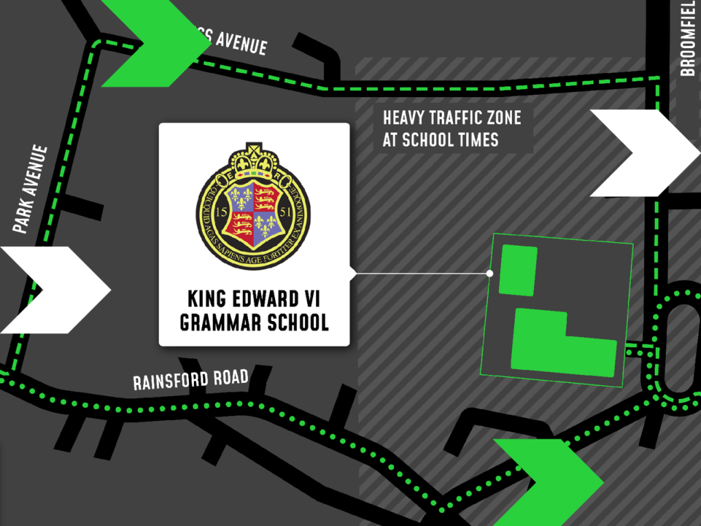 A map of the walking and cycling routes around King Edward VI Grammar School