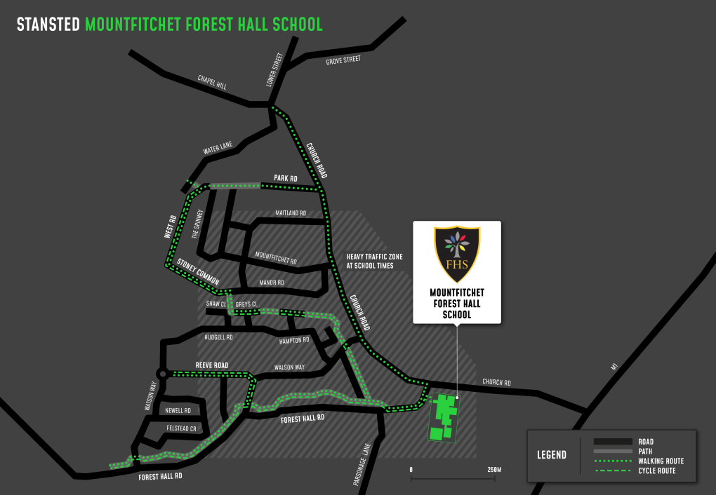 A map showing cycle and walking routes to and from Forest Hall School