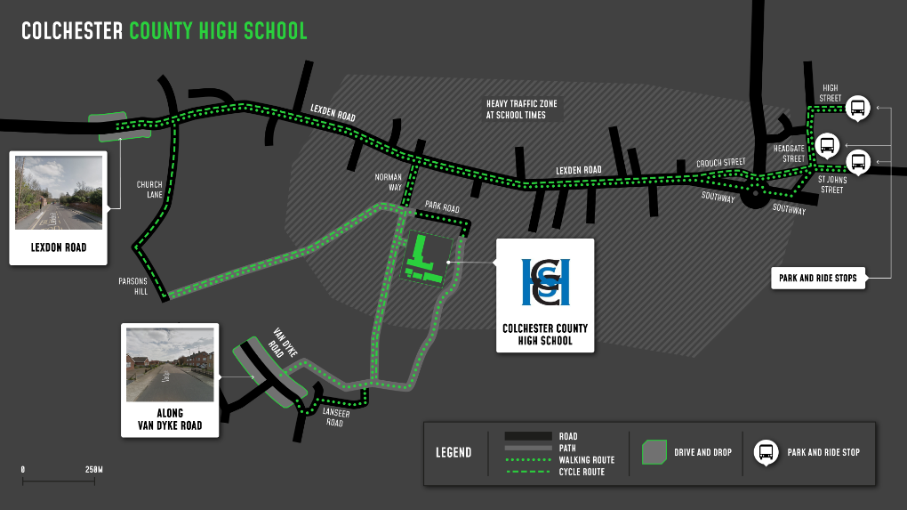 A map showing cycle and walking routes to and from Colchester County High School for Girls