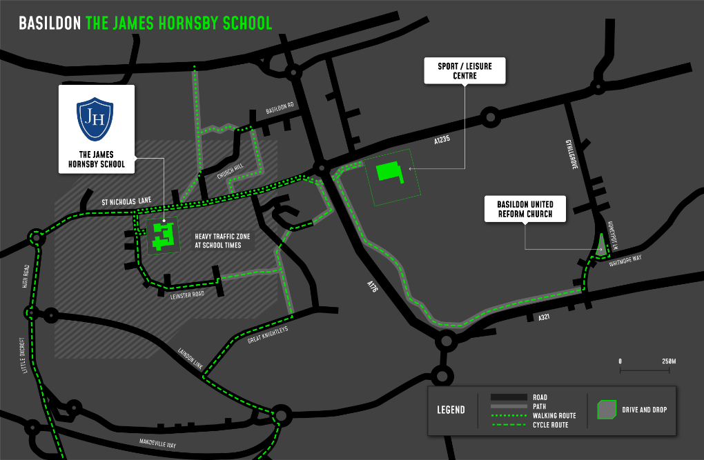 A map showing cycle and walking routes to and from The James Hornsby School