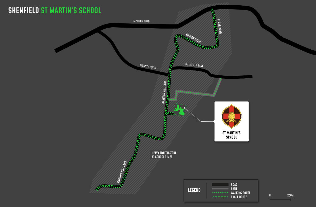 A map showing cycle and walking routes to and from St Martin's School
