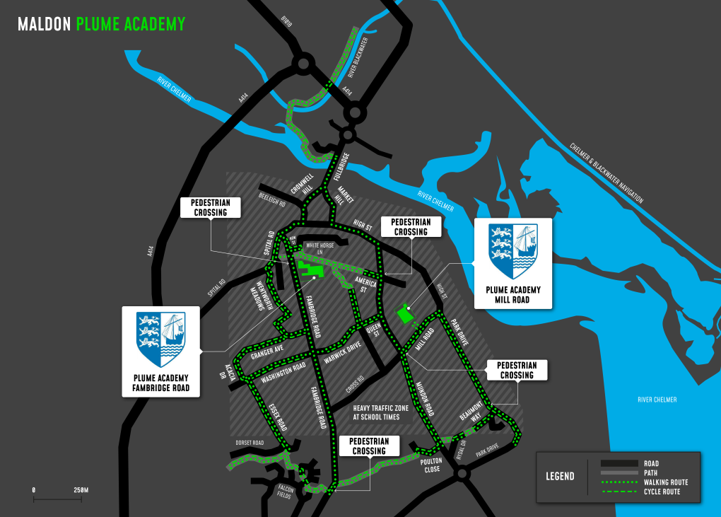 A map showing cycle and walking routes to and from Plume Academy
