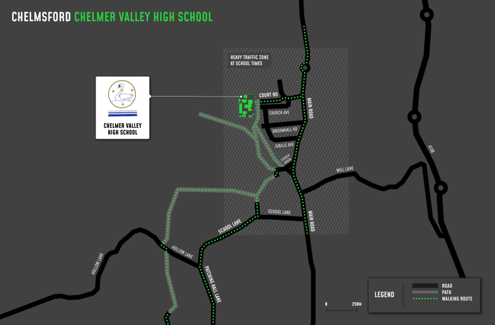 A map showing cycle and walking routes to and from Chelmer Valley High School