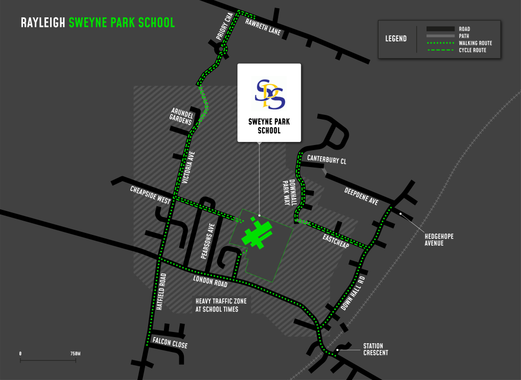 A map showing cycle and walking routes to and from The Sweyne Park School
