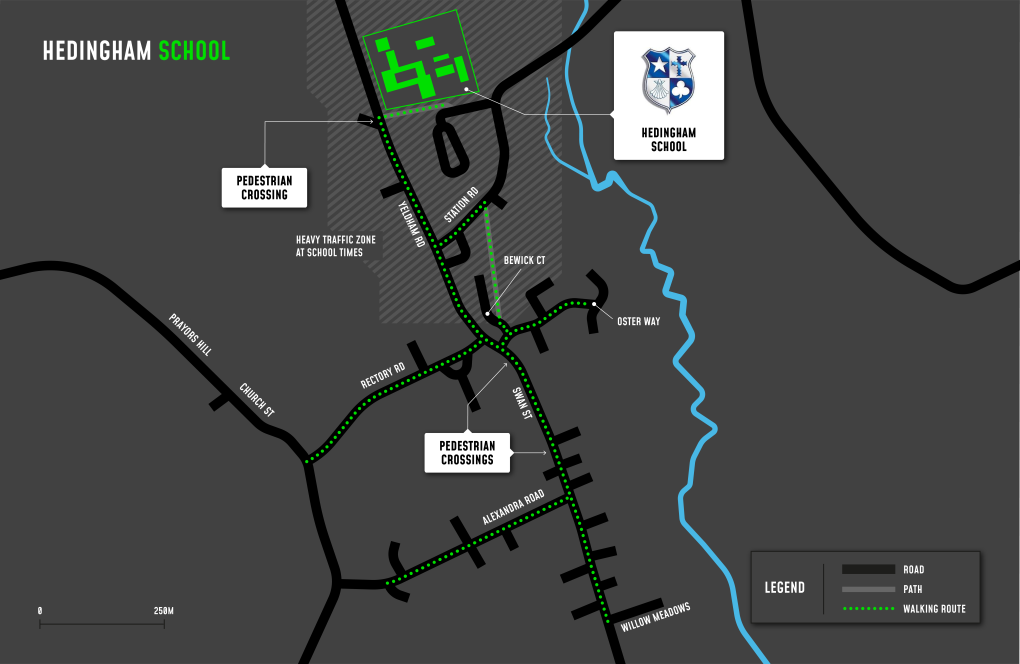 A map showing cycle and walking routes to and from Hedingham School and Sixth Form