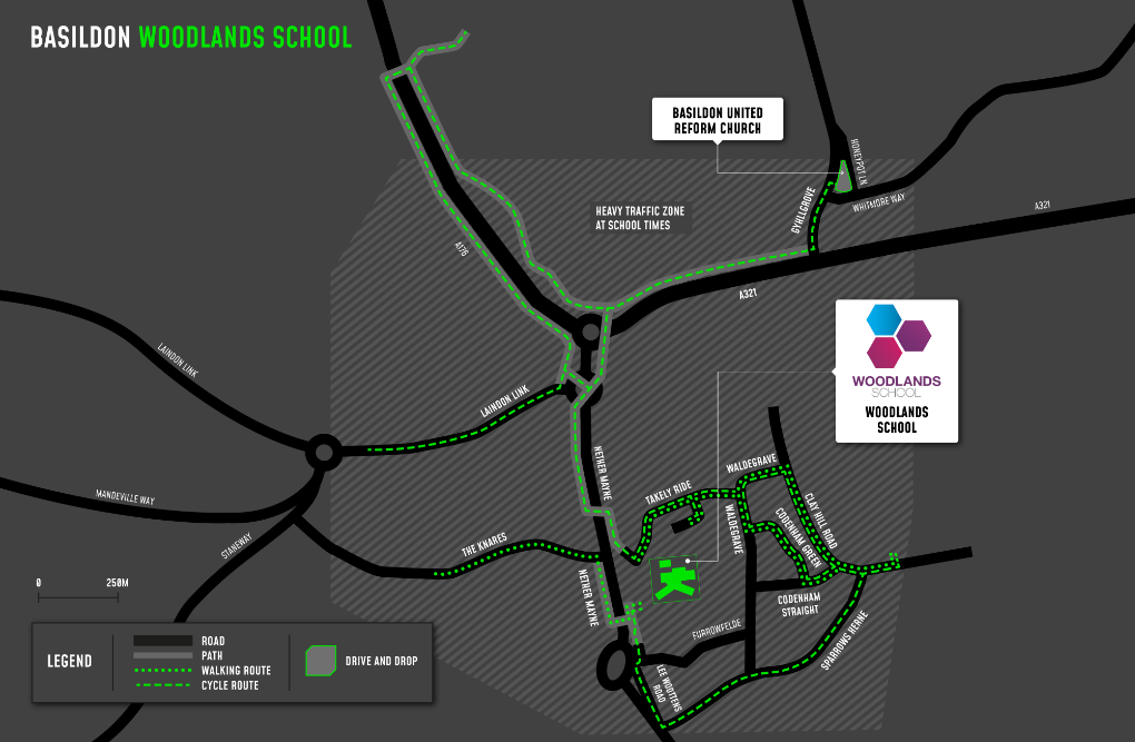 A map showing cycle and walking routes to and from Woodlands School