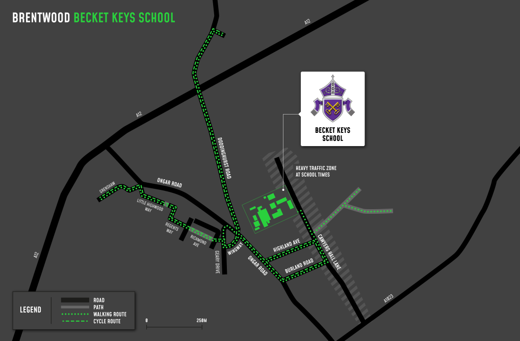 A map showing cycle and walking routes to and from Becket Keys School