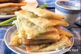 Traditional Chinese cuisine: scallion pancakes