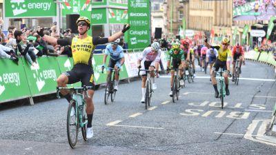 Dylan Groenewegen winning final stage in Newcastle two years ago