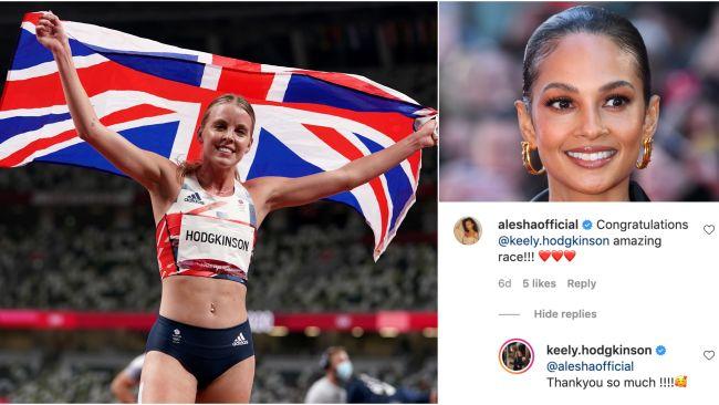 Keely Hodgkinson is congratulated by Alesha Dixon