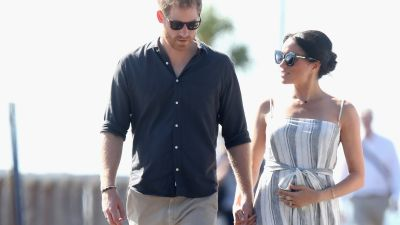 Harry and Meghan in Australia after announcing pregnancy.