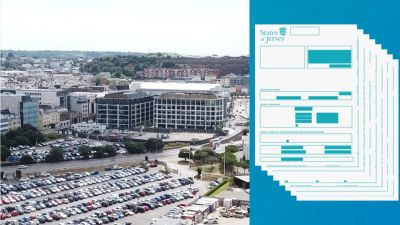 view of St Helier and gfx of a tax return