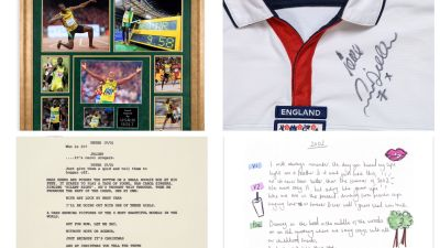 Usain Bolt (top left) and David Beckham (top right) have both donated items, while a film cell from the film Love Actually (bottom left) and the handwritten lyrics for Anne-Marie's song '2002' are also up for grabs.