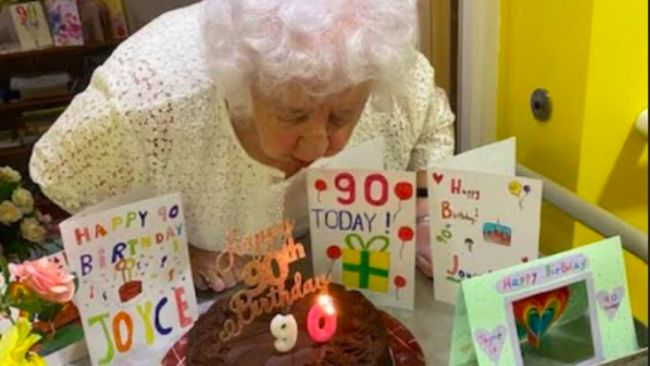 Joyce Wilson celebrated her 90thbirthday at The Manors during lockdown and received birthday cards and good wishes from the children at Highfield Middle School in Prudhoe
