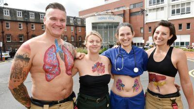 Emergency Services Body Art Installation To Raise Awareness Of Organ Donation Calendar Itv News