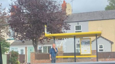 Paul McCartney at bus stop in Heswall, Wirral