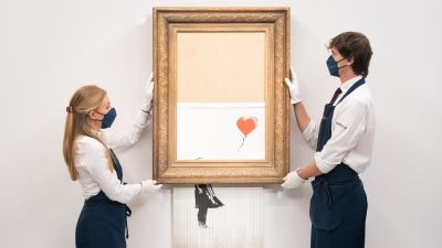 Banksy's 'Love Is In The Bin' is estimated to fetch between £4-6 million at auction