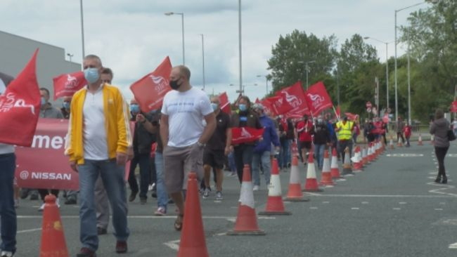 Pension protestors marching past the Nissan plant in Sunderland.