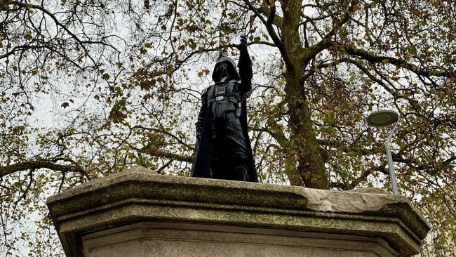 The Darth Vadar figure on top of the Colston plinth
