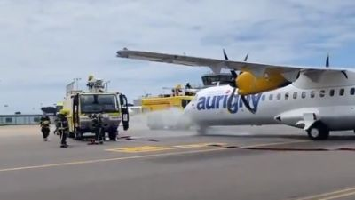 Smoke coming from an Aurigny plane in Guernsey