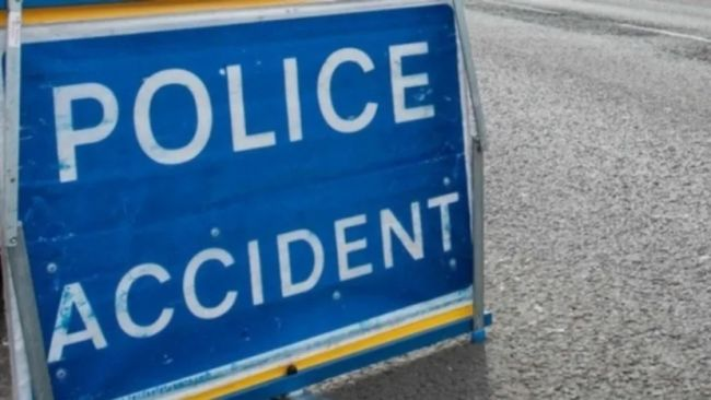 A road sign saying 'police accident'
