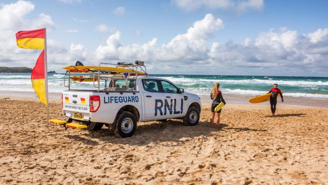 RNLI Lifeguards on a beach in the south west.