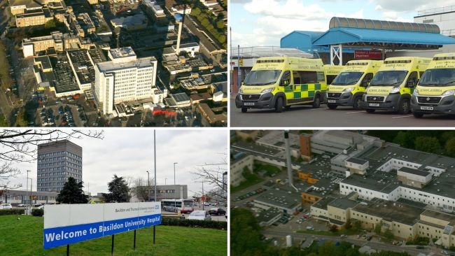 Collage of NHS hospitals in the Anglia region - Southend, Kettering, Basildon and Northampton