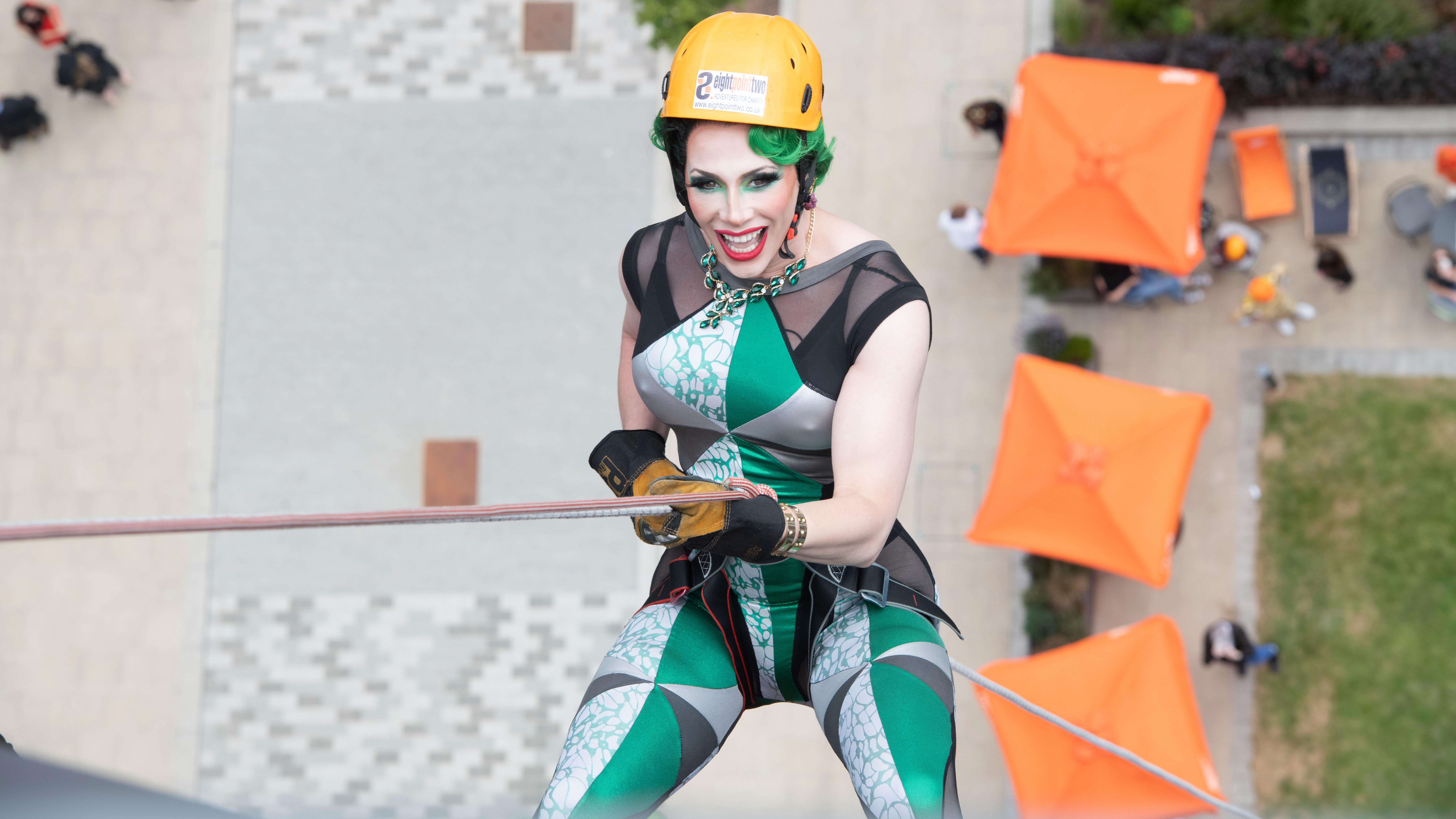 Dangerous and in Drag   Davina De Campo abseiling for Royal Manchester Children s Hospital Charity.