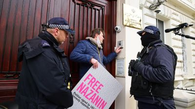 Richard Ratcliffe, the husband of Nazanin Zaghari-Ratcliffe, takes part in a protest outside the Iranian Embassy in London. Ms Zaghari-Ratcliffe has completed a near five-year sentence in the Islamic Republic over allegations of plotting to overthrow its government - charges which she vehemently denies. Picture date: Monday March 8, 2021.